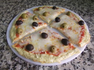 Pizza-pollo con aceitunas